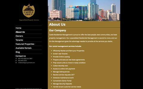Screenshot of About Page castlegrouprentals.com - Castle Residential | Fort Lauderdale, Boyton Beach, Miami, Broward, West Palm Beach | About Us - captured Oct. 2, 2014