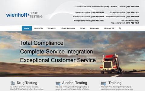 Screenshot of Home Page wienhoffdrug.com - Wienhoff Drug Testing | Wienhoff Drug Testing | Alchohol Testing | DNA Paternity Testing - captured Nov. 15, 2018