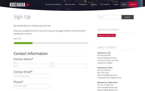 Screenshot of Signup Page kochava.com - Sign Up - Kochava - captured Jan. 9, 2016