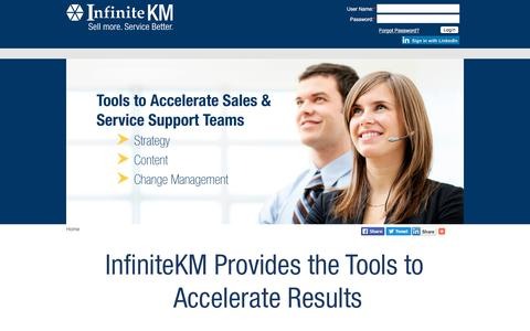 Screenshot of Login Page infinitekm.com - Channel Sales | Contact Centers | Sales Enablement | Proposal Generation | Analytics | Knowledge Base | Communication Tools - captured July 28, 2018
