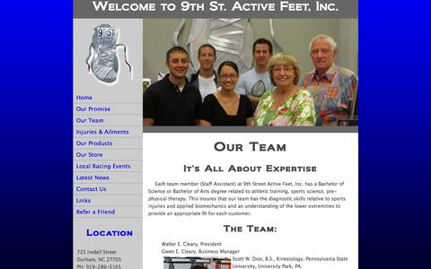 Screenshot of Team Page 9saf.com - Running Shoes | Properly Fitted Shoes - captured March 8, 2016