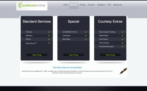 Screenshot of Services Page guardianescrow.net - Services | Guardian Escrow - captured Sept. 30, 2014