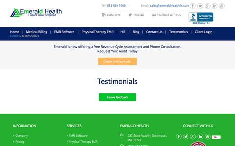Screenshot of Testimonials Page emeraldhealthllc.com - Testimonials - Emerald Health LLC - captured July 18, 2018
