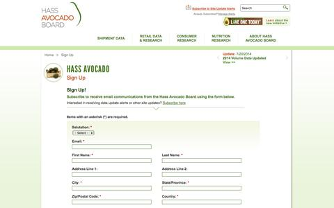 Screenshot of Signup Page hassavocadoboard.com - Sign Up | Hass Avocado Board - captured Sept. 29, 2014