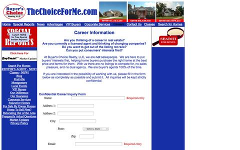 Screenshot of Jobs Page thechoiceforme.com - Exclusive Buyer's Agent Careers - captured Oct. 5, 2014