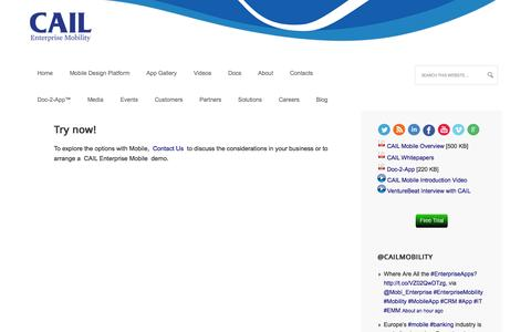 Screenshot of Trial Page cailmobility.com - Try now! - CAIL Mobility - captured Oct. 1, 2014