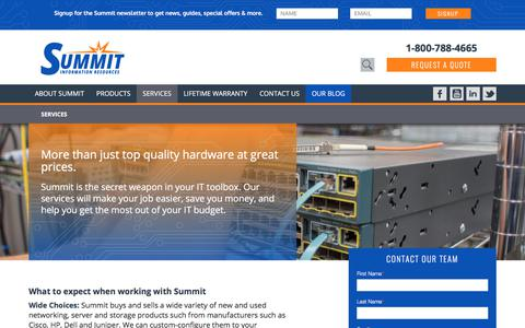 Screenshot of Services Page summitir.com - Services - Summit Information Resources - captured Oct. 27, 2017