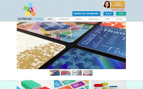 Screenshot of Home Page supreme-cards.com - Supreme Cards- Plastic Card Printing, Gift Card Printing - captured Sept. 30, 2014