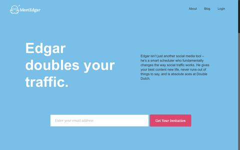Screenshot of Home Page meetedgar.com - Meet Edgar: The Social Media Queue That Fills ItselfMeetEdgar - captured Sept. 7, 2016