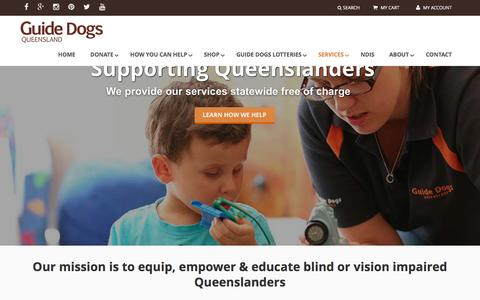 Screenshot of Services Page guidedogsqld.com.au - Services - Guide Dogs Queensland - captured Feb. 2, 2016
