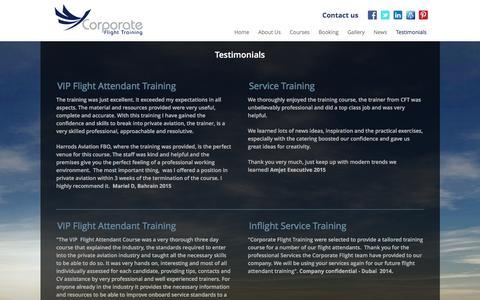 Screenshot of Testimonials Page corporateflighttraining.com - Corporate Flight Training - Testimonials - captured Dec. 12, 2015