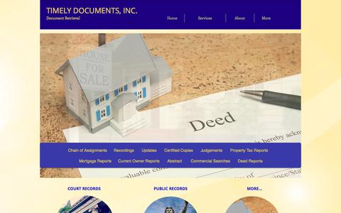 Screenshot of Services Page timelydocuments.com - Timely Documents, Inc. Document Retrieval  | Services - captured Oct. 25, 2017