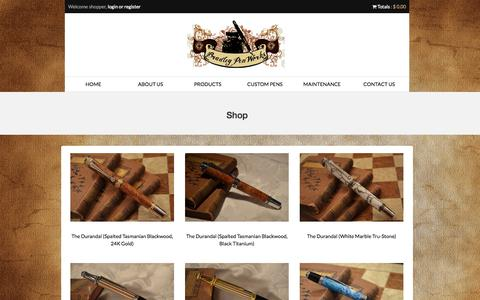 Screenshot of Products Page bradleypenworks.com - Products | bradleypenworks.com - captured Oct. 12, 2014
