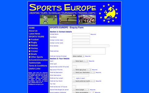 Screenshot of Contact Page sports-europe.co.uk - Sports Europe - Enquiry Form - captured Sept. 30, 2014