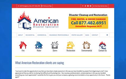 Screenshot of Testimonials Page amrest.com - Testimonials from American Restoration Clients - captured Oct. 8, 2017
