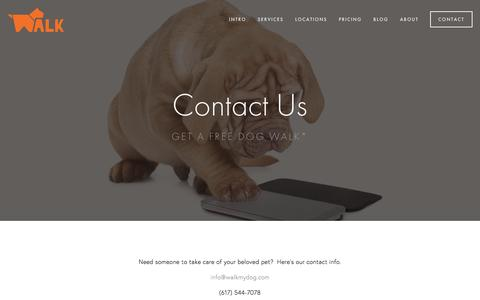 Screenshot of Contact Page walkmydog.com - Contact — Boston Dog Walking and Pet Sitting - captured Feb. 26, 2016
