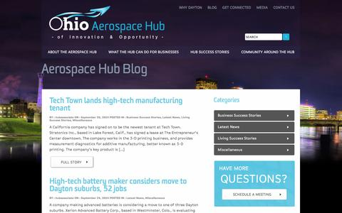 Screenshot of Blog ohioaerospacehub.com - Ohio Aerospace Hub - captured Sept. 30, 2014