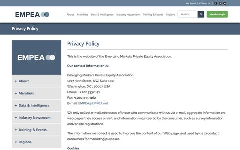 Screenshot of Privacy Page empea.org - Privacy Policy - EMPEA - captured Aug. 1, 2017