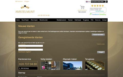 Screenshot of Login Page amstelmunt.nl - Klant-login  - Begin uw eigen traditie - captured Sept. 30, 2014