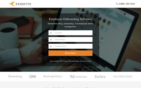 Screenshot of Landing Page zenefits.com - Employee Onboarding Software | Zenefits - captured March 10, 2017