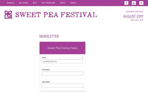 Screenshot of Signup Page sweetpeafestival.org - Newsletter - Sweet Pea Festival - captured Dec. 1, 2016