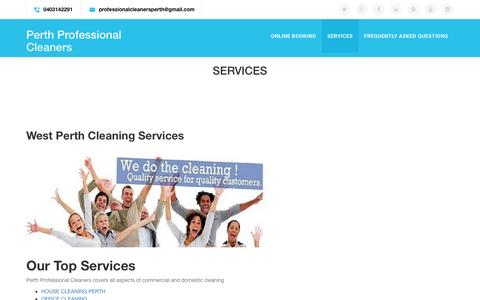 Screenshot of Services Page perthprofessionalcleaners.com.au - Professional Cleaning Services - captured July 12, 2016