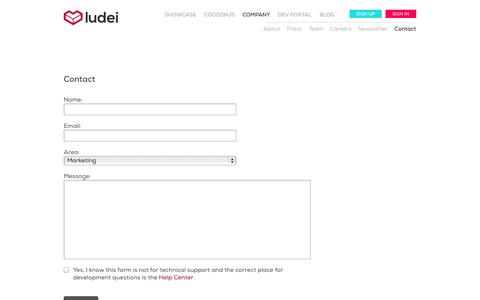 Screenshot of Contact Page ludei.com - Contact - Ludei - captured Sept. 16, 2014