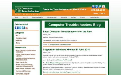 Screenshot of Blog technology-solved.com - Blog | Computer Repair Service Littleton | Computer Troubleshooters | Computer Troubleshooters of West Littleton - captured Oct. 3, 2014