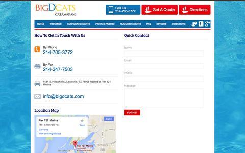 Screenshot of Contact Page bigdcats.com - Contact Us | Big D Cats | Lake Lewisville Party Boat - captured Oct. 2, 2014