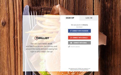 Screenshot of Signup Page thrillist.com - Join Thrillist - captured July 3, 2015