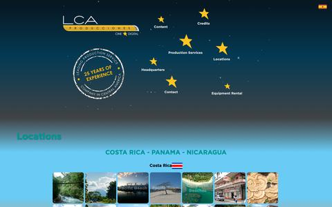 Screenshot of Locations Page lcaproductions.com - LCA Producciones shooting location samples for Costa Rica, Panama and Nicaragua. - captured Nov. 4, 2018