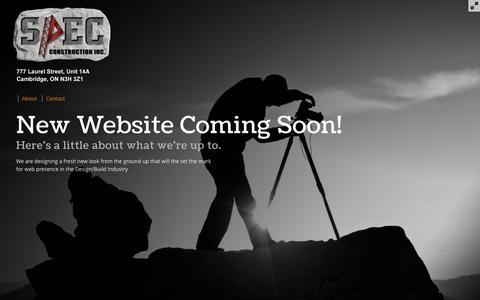 Screenshot of Home Page spec-build.com - SPEC Construction - New Website Coming Soon - captured Oct. 6, 2014