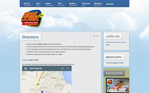 Screenshot of Maps & Directions Page eastcoast.fm - Directions - East Coast FM - Wicklow's Favourite Radio Station - captured Jan. 24, 2016