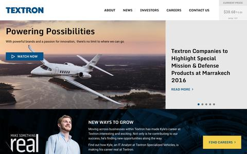 Screenshot of Home Page textron.com - Textron - captured April 30, 2016