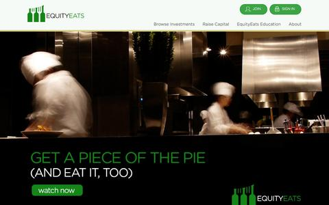 Screenshot of Home Page equityeats.com - EquityEats | Capital. Community. Cuisine. - captured Jan. 20, 2015