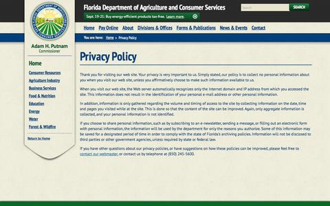 Screenshot of Privacy Page freshfromflorida.com - Privacy Policy / Home - Florida Department of Agriculture & Consumer Services - captured Sept. 19, 2014