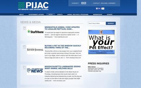 Screenshot of Press Page pijac.org - News & Media | PIJAC - captured Jan. 27, 2016