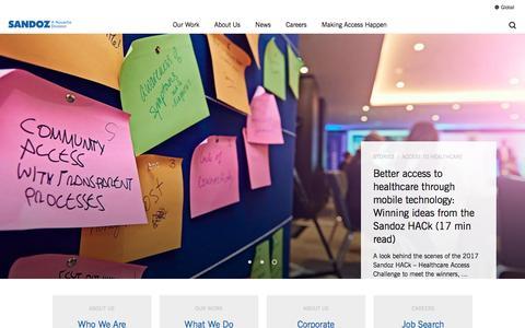 Screenshot of Home Page sandoz.com - Sandoz - captured May 27, 2017