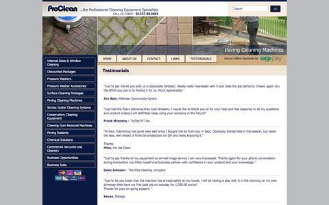 Screenshot of Testimonials Page proclean.uk.net - Proclean : Testimonials - captured March 6, 2016