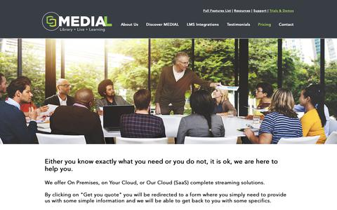 Screenshot of Pricing Page medial.com - MEDIAL | Pricing Options - captured Oct. 2, 2018