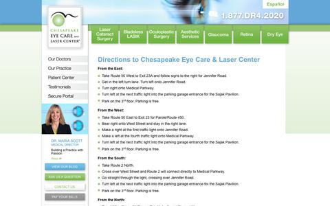 Screenshot of Maps & Directions Page chesapeakeeyecare.com - Directions to Chesapeake Eye Care & Laser Center - Annapolis Eye Care - captured Sept. 27, 2018