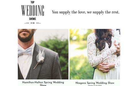 Screenshot of Home Page topweddingshows.com - Top Wedding Shows Events, locations and times - captured Jan. 2, 2018