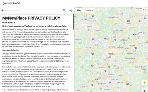 Screenshot of Privacy Page mynewplace.com - Privacy Policy - captured Jan. 19, 2020