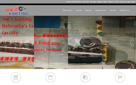 Screenshot of Home Page joeskarting.com - Joe's Karting | Racing by the river! - captured Jan. 21, 2015