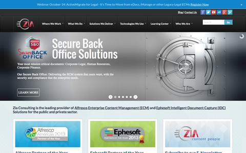 Screenshot of Home Page ziaconsulting.com - Alfresco Enterprise Content Management   Ephesoft Document Capture Solutions - Zia Consulting - captured Oct. 9, 2014