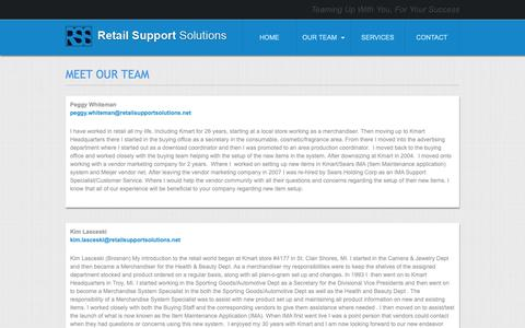 Screenshot of Team Page retailsupportsolutions.net - Retail Support Solutions | MEET OUR TEAM - captured Nov. 4, 2018