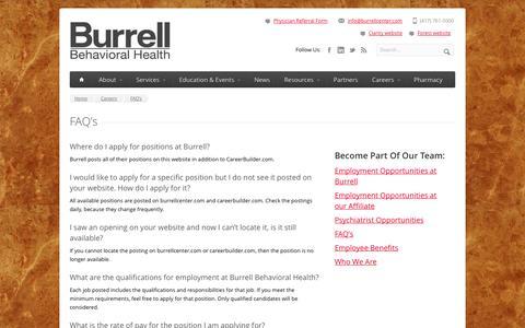 Screenshot of FAQ Page burrellcenter.com - FAQ's - Burrell Behavioral Health - captured Oct. 5, 2014