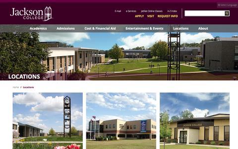 Screenshot of Locations Page jccmi.edu - Locations - Jackson College - captured Feb. 11, 2016