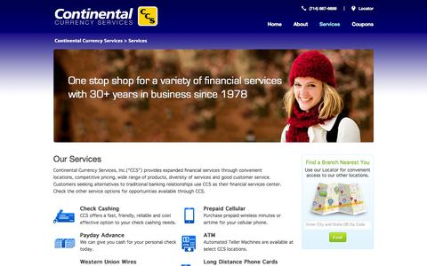 Screenshot of Services Page ccurr.com - Services | Continental Currency Services - captured Oct. 3, 2014