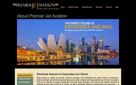 Screenshot of About Page jetav.com - Premier Jet Aviation | About Us - captured Sept. 23, 2014